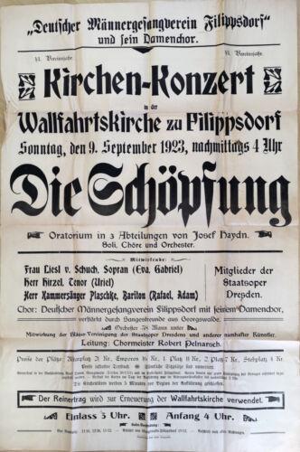 GERMAN OPERA MUSIC POSTER 1923 - LIESEL SCHUCH-GANZEL - HAYDN - DIE SCHÖPFUNG