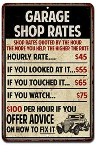 Shop Rates Sign Garage Rustic Wall Décor Mechanic Signs