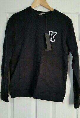Karl Lagerfeld Black Towel Patch Letter Sweatshirt 100% Cotton  S Rrp £150 BNWT