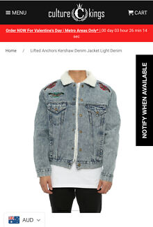 CULTURE KINGS LIFTED ANCHORS DENIM JACKET ~ BRAND NEW ~ rrp $159