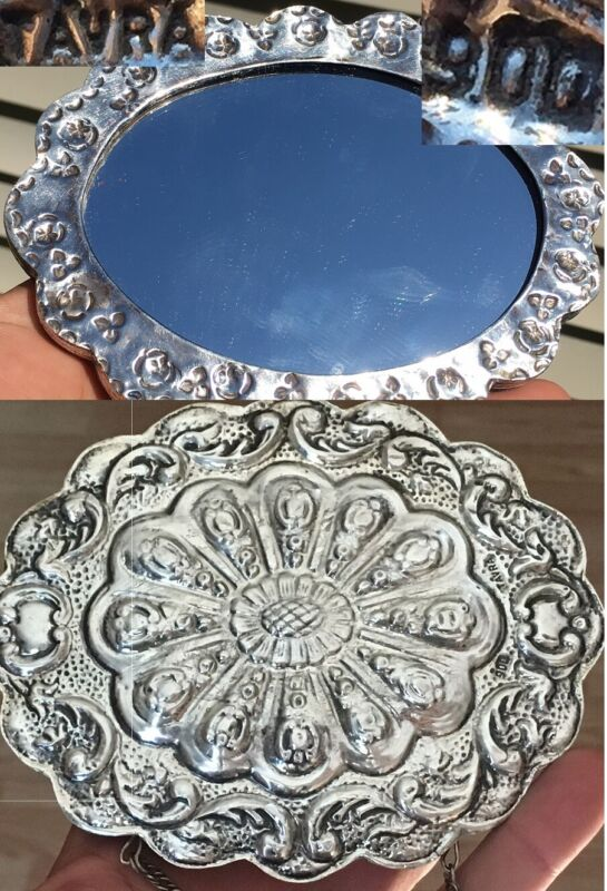 Antique Turkish Turkey Solid Coin 900 Silver Repousse Oval Wedding Vanity Mirror