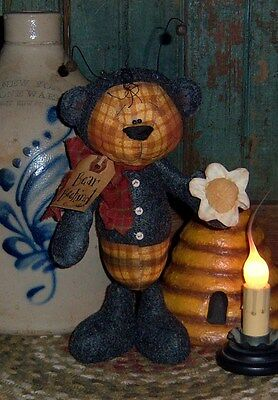 Primitive Teddy Bear Bee Doll Flower Ornie Paper Pattern #316