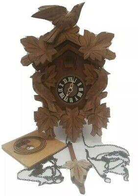 VINTAGE WEST GERMAN CUCKOO CLOCK Parts or repair only. Black forest Wood wooden