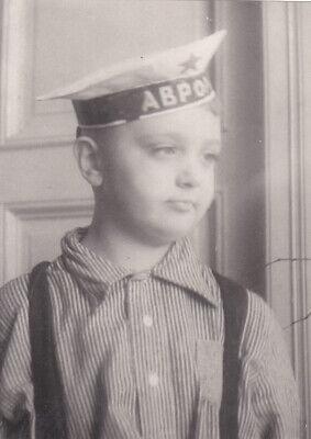 1953 Cute little boy in sailor hat fashion old Soviet Russian photo ()