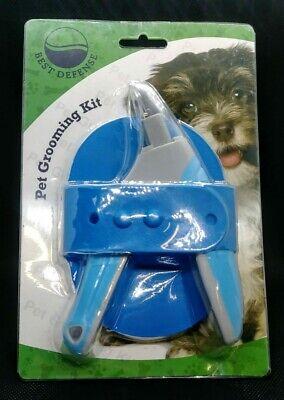 Best Defense Dog Nail Clippers Grooming Set W/Bonus Slicker Brush