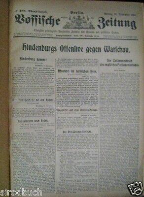 Vossische Zeitung 21.September - 16. Oktober 1914 1. Kriegsjahr RAR gebunden