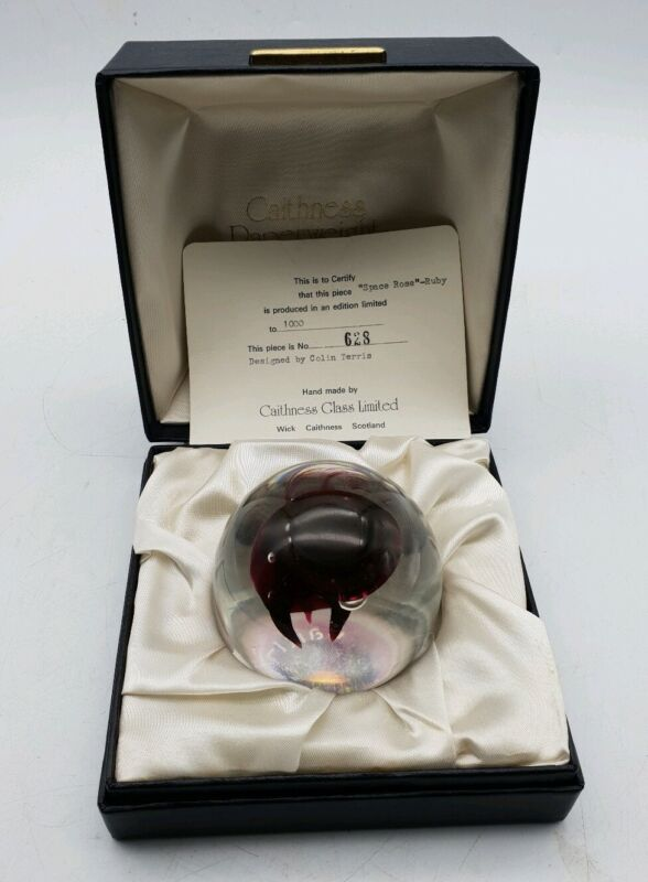 Caithness Space Rose - Ruby Colin Terris Limited Edition Paperweight 628/1000