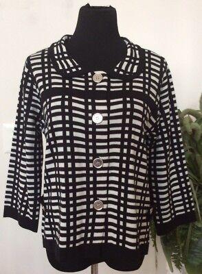 NWT JohnPaulRichard Women's Black Acrylic Knit Sweater Top Size L MRSP $58.00.