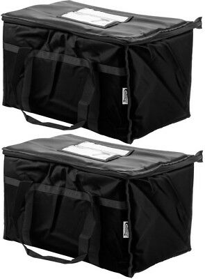 Black Insulated Food Pan Carriers (TWO Insulated BLACK Catering Delivery Food Full Pan Carrier Hot Cold Cooler)