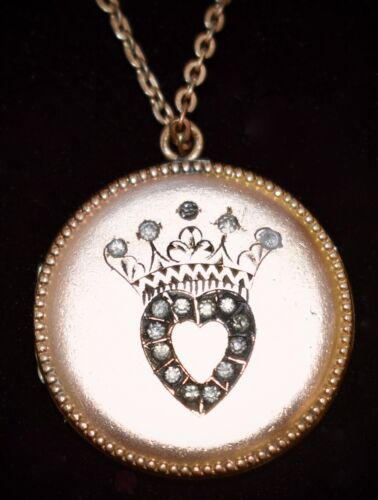 FABULOUS Victorian Antique CROWNED HEART Paste Stone Yellow GF LOCKET Necklace