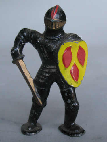 1950s Vintage Barclay Pod Foot Painted Cast Lead Black Knight Figure