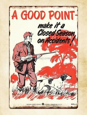 National Safety Poster Good Point Hunting Safety Gun metal tin sign home printer