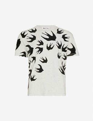 NWT MCQ ALEXANDER MCQUEEN SWALLOW Graphic-print cotton-jersey T-shirt Sz Large