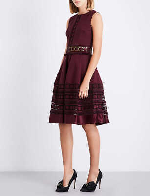 NEW Ted Baker Maroon Olym Fringe Panelling Lace Dress Size 0 to 5 - 6-16 RP £250