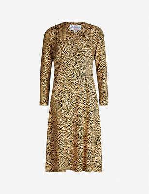 Brand New HVN Hoover Tiger Print Silk Midi Dress UK8
