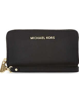 Michael Kors Jet Set Travel Large Smartphone Purse Wristlet Leather - Black