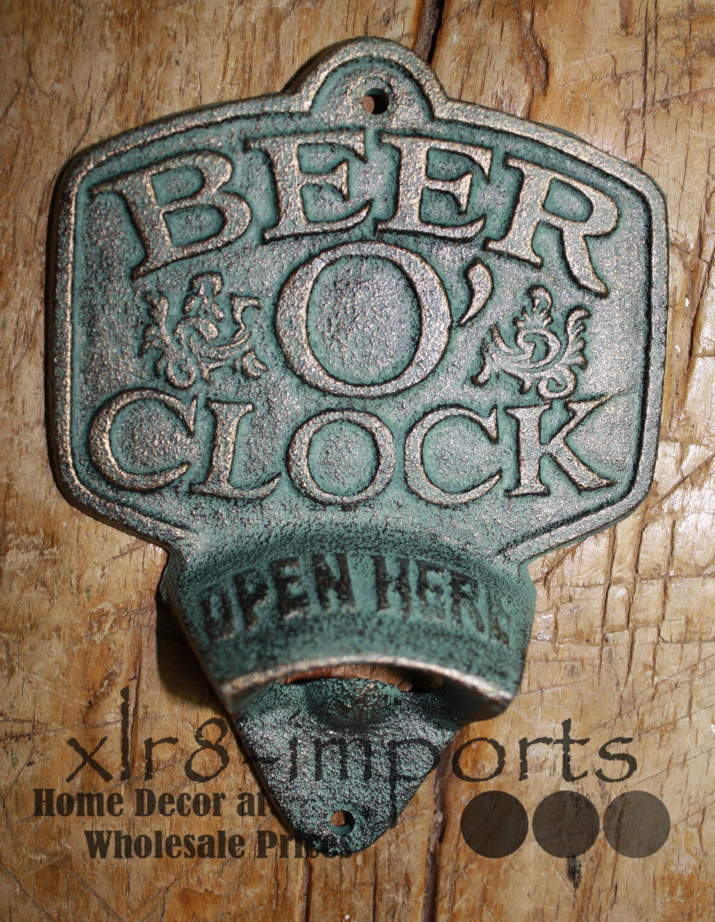 Cast Iron BEER O CLOCK Plaque OPEN HERE Beer Bottle Opener Rustic Wall Mount