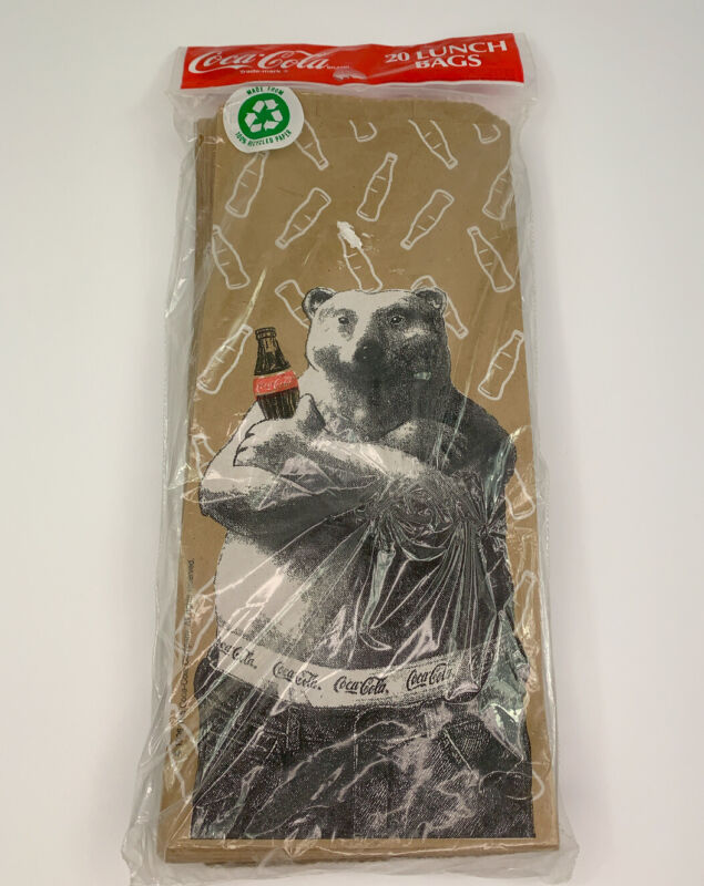 Coca-Cola Polar Bear Drinking Coke In Boxers Vintage 20 Brown Paper Lunch Bags