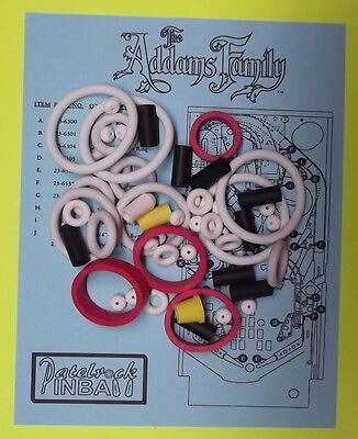 1992 Bally / Midway The Addams Family pinball rubber ring kit TAF