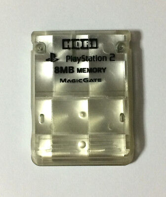 USED PS2 HORI 8MB MEMORY CARD Clear Silver for Sony PlayStation 2 Game JAPAN