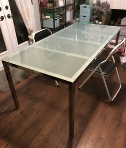 Chrome Frosted Glass Dining Table