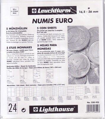 Leuchtturm Numis Münzhüllen für 3 komplette Euro Sätze  (5er Pack)         NH24