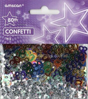 6 PACK 80TH BIRTHDAY CONFETTI / TABLE SPRINKLES MULTI COLOURS TABLE DECORATIONS (80th Birthday Color)