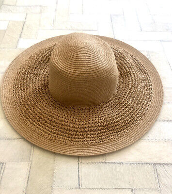 J.CREW~Travel PACKABLE~SUMMER STRAW SUN HAT~WIDE BRIM PANAMA~O/S