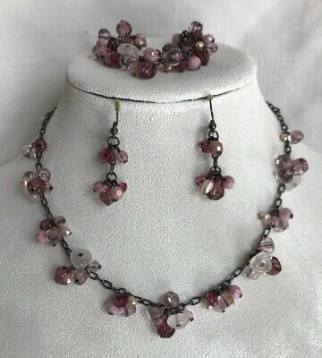Premier Designs Christie Necklace Earring Bracelet Hematite Tone Purple Pink Set Hematite Necklace Earring
