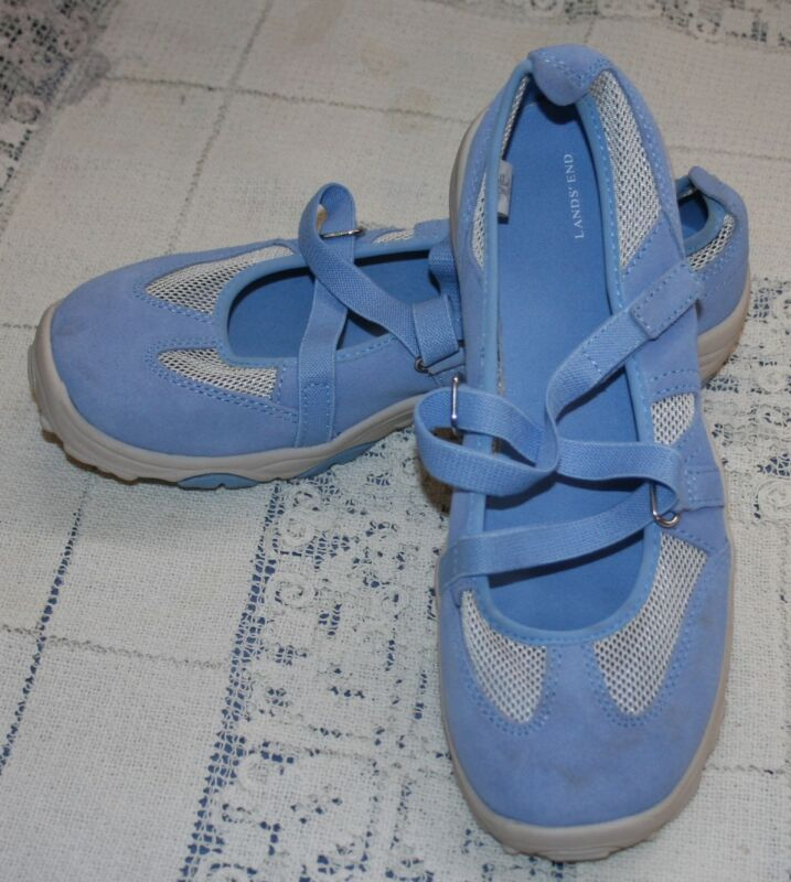 Girls Teens Young Womans Lands End Shoes Sz 4 Blue Mary Jane Walking Comfort