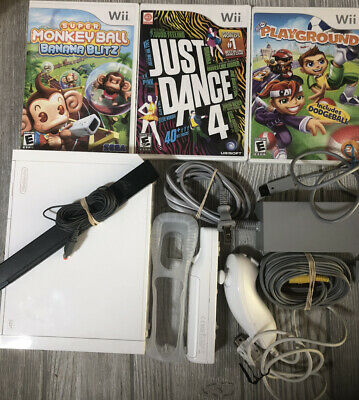 Nintendo Wii Console System Bundle W Cords Controller & 3 Games Just Dance Lot +