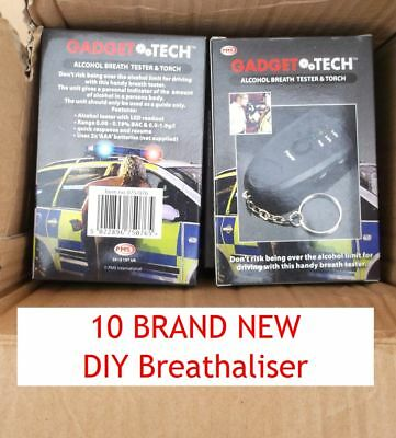 10 Keyrings Breathalyzer Alcohol Breath Tester Detector Analyzer Breathaliser UK