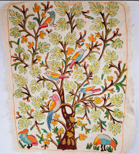 Embroidered Crewel Felted Wool Tree of Life Wall Hanging Rug Tapestry 4