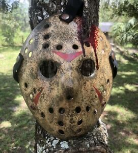 Jason Voorhees Mossy Aged Axe Bloody Painted Mask Design 1- High Quality