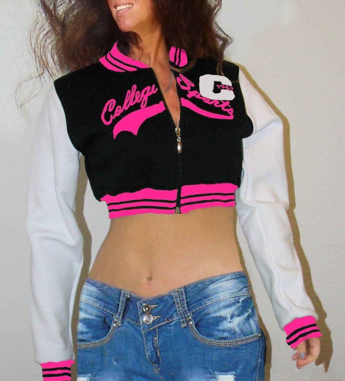 Damen College Jacke Baseball Sweat Jacke Bolero pink schwarz weiß, Gr. L, top