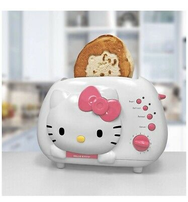 HELLO KITTY White & Pink 2-Slice Wide Slot Toaster w/ Cool Touch Exterior, New
