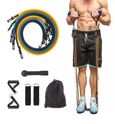 Resistance Bands/Cable Weights (11pc) For Fitness, Yoga, Training, Powerlifting