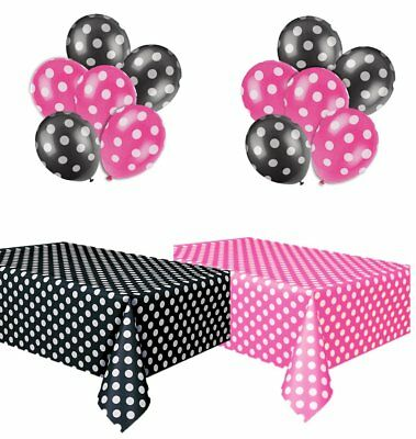 Polka Dot Plastic Tablecloth Hot Pink  White and Black  White, and Two Packages