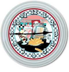 Retro Diner Kitchen Wall Clock - 50's Decor Juke Box Checker Milkshake Silver