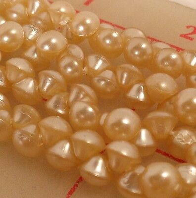 "144 vintage 6mm tiny glass shank buttons ivory pearl Japan 1/4"" beads doll"