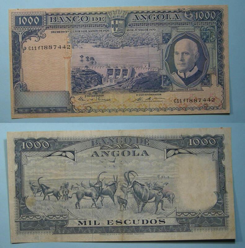 1970 ANGOLA 1000 ESCUDOS FRESH VF/XF. TOUGH NOTE INV#PM110-10