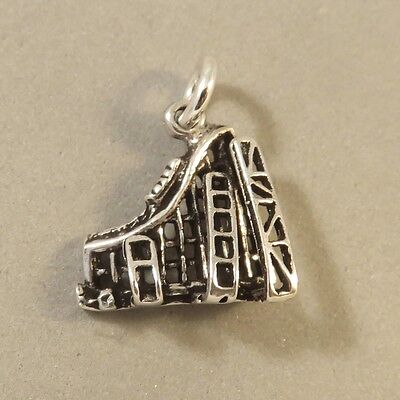 925 Sterling Silver 3 D Roller Coaster Charm Amusement Park Ride New 925 Hb38