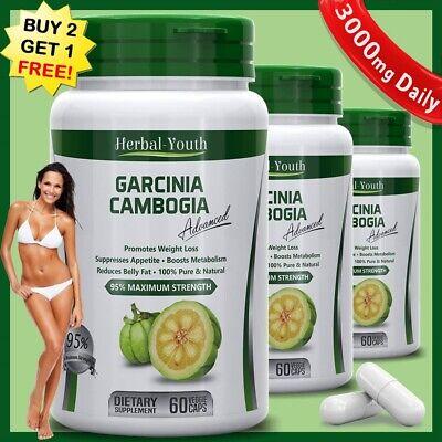 95% GARCINIA CAMBOGIA Capsules Ultra Pure 3000mg Daily Weigh