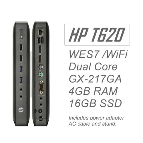 HP t620 WES7e Thin Client Dual Core 1.65Ghz WiFi 4GB RAM 16GB mSATA SSD Rev.A MB