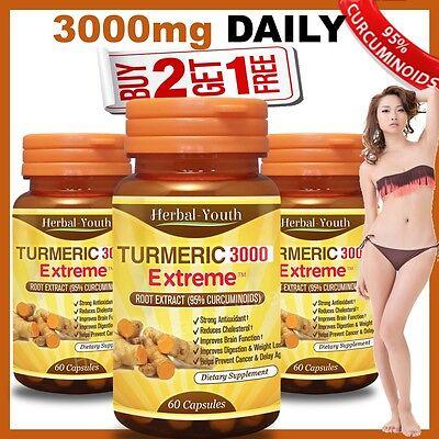 Turmeric 3000 Extreme 95  Curcuminoid Longa Linn Pure Tumeric Pills Antioxidant