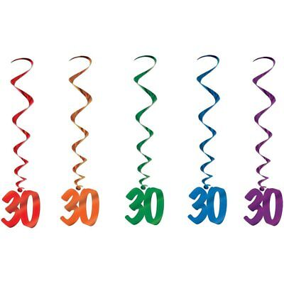 30th Birthday Age 30 Thirtieth Whirls Hanging Party Decorations 5 Pc - Purple 30th Birthday Decorations