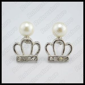 Queen-Priness-Crown-Pearl-Silver-Stud-Earrings-Beautiful-Women-Jewellry-NEW