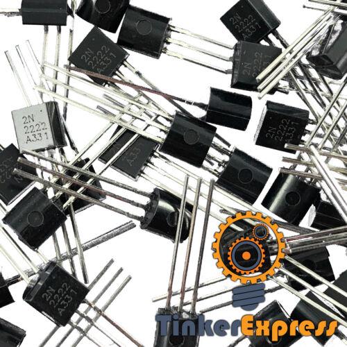 100pcs Bulk 2N2222 2N2222A PN2222A NPN Transistor TO-92 USA - TinkerExpress