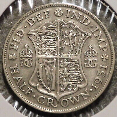 British Silver Half Crown - 1931 - Overstock Sale! - $1 Unlimited Shipping -036