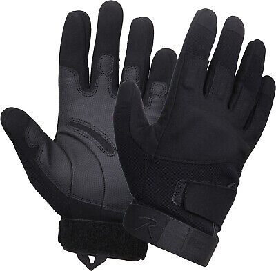 Black Tactical Padded Knuckle Shooting Gloves with Textured Grip